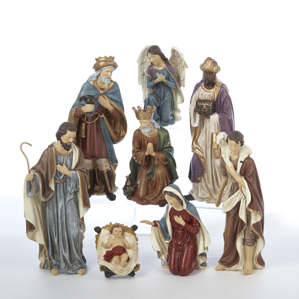 Large Eight Piece Inspirational Religious Christmas Nativity Figurine Set 9""
