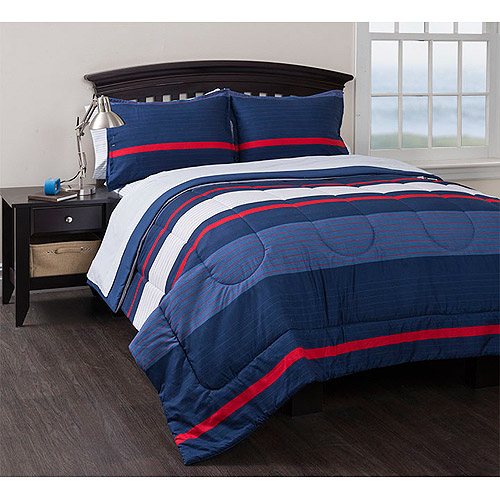Generic American Original Coastal Stripe Reversible Complete Bedding Set Blue Bed in a Bag