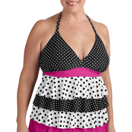 87000820ef Catalina - Fashion Women s Plus-Size Tiered Ruffle Halter Tankini Top With  Bra Cups - Walmart.com