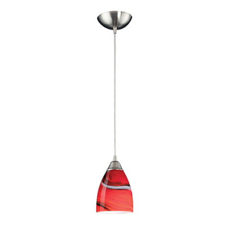 Pendants 1 Light LED With Satin Nickel Finish Candy Glass 5 inch 12.5 Watts - World of -