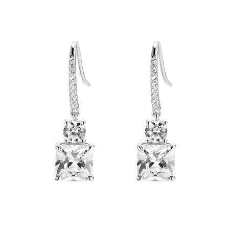Princess Cut Solitaire Earrings Drop Down Design Sterling 925 Silver 29mm Womens