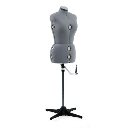 SINGER® Adjustable Dress Form Mannequin Grey Size Medium/Large, Fabric-Backed with 12 Adjustments