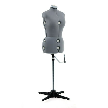 SINGER® Adjustable Dress Form Mannequin Grey Size Medium/Large, Fabric-Backed with 12 (Dress Form Die Cuts)