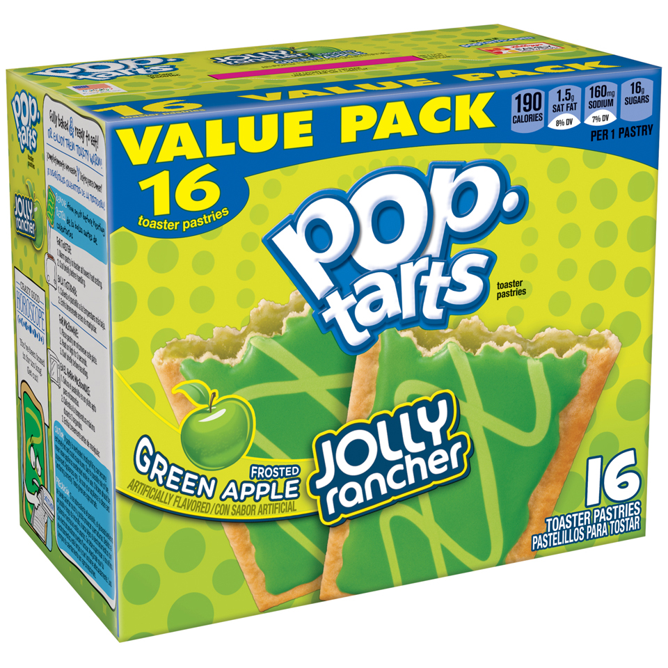 Kellogg's Pop Tarts Frosted Green Apple Jolly Rancher Toaster Pastries 16 ct 14.1 oz by Kellogg Sales Co.