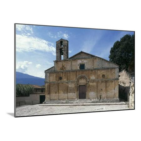 Facade of Church of Santa Giusta, 13th Century, Bazzano, Abruzzo, Italy Wood Mounted Print Wall Art