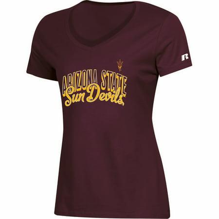 Women's Russell Athletic Maroon Arizona State Sun Devils Arch V-Neck T-Shirt Ncaa Arizona State University