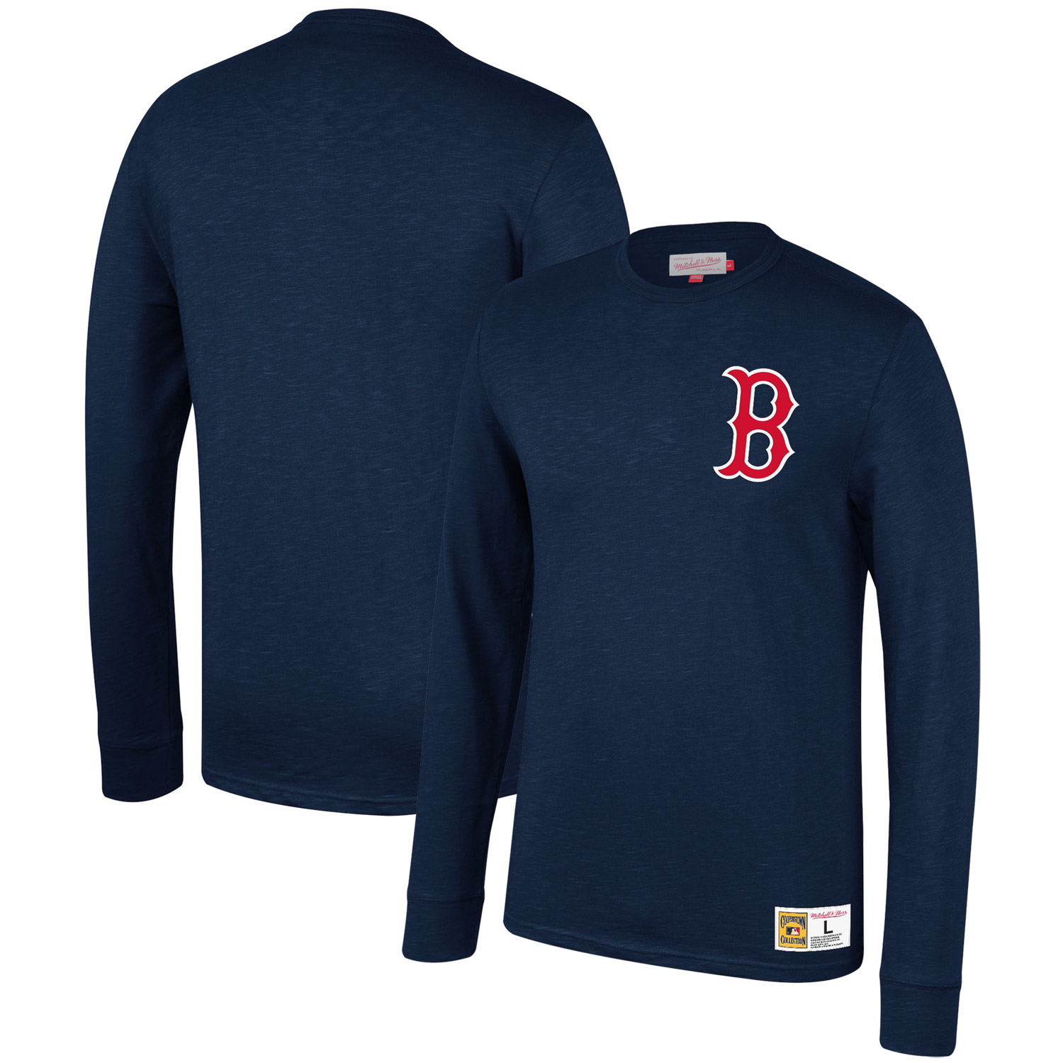 Boston Red Sox Mitchell & Ness Cooperstown Collection Slub Long Sleeve T-Shirt - Navy
