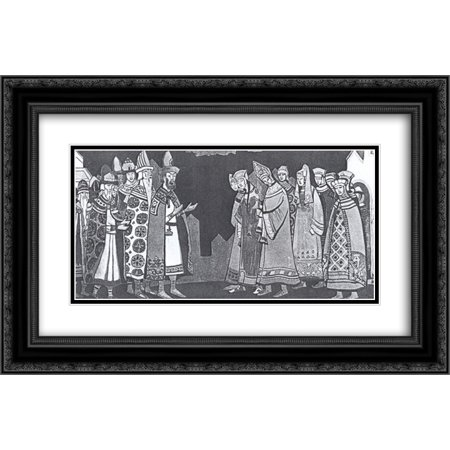 Nicholas Roerich 2x Matted 24x16 Black Ornate Framed Art Print 'The scene with the two large groups of figures in costumes' 2 Large Framed Print