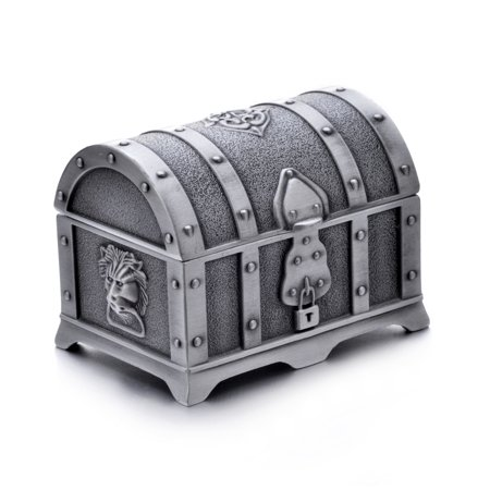 Swarovski Treasure Box - Fashion Small Rectangle Antique Silver Metal Treasure Chest Trinket Jewelry Box Gift Box Ring Box