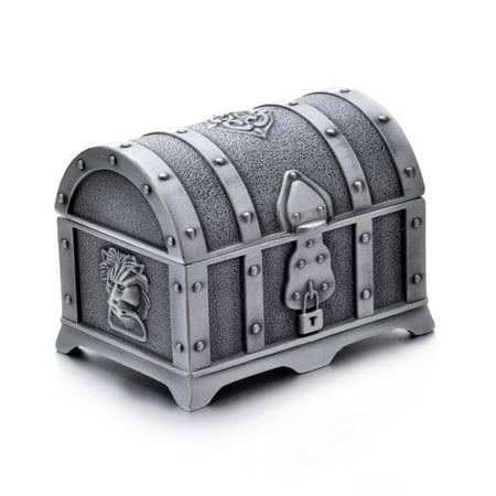 Fashion Small Rectangle Antique Silver Metal Treasure Chest Trinket Jewelry Box Gift Box Ring Box