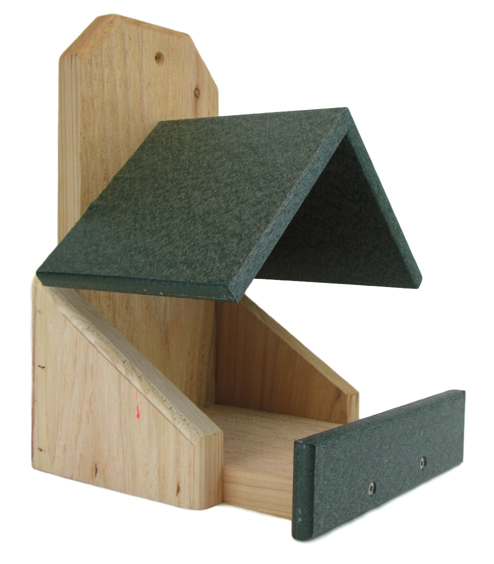 JCs Wildlife Cedar Robin Roost Birdhouse with Recycled Poly Lumber Roof, Green by JCs Wildlife