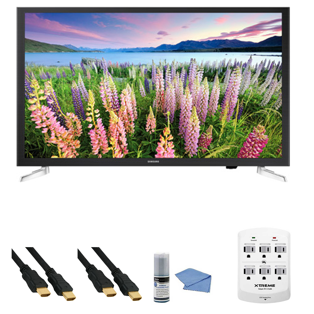 Samsung UN32J5205 - 32-Inch Full HD 1080p Smart LED HDTV + Hookup Kit - Includes TV, HDMI to HDMI Cable 6', 6 Outlet Wall Tap Surge Protector with Dual 2.1A USB Ports and Cleaning Kit