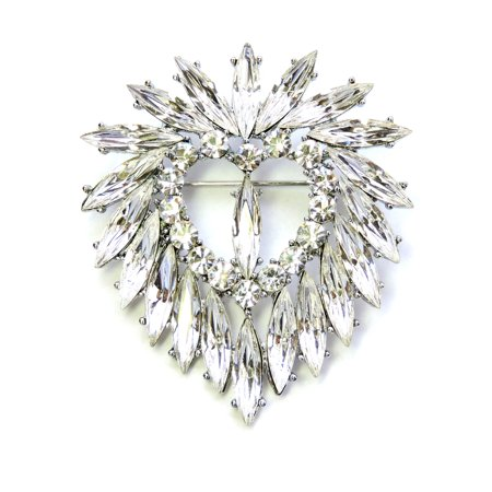 Faship Clear Heart Pin Brooch For Valentine'S Day Open Heart Fashion Pin