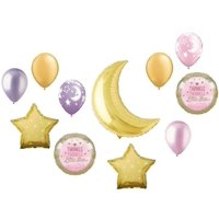 Twinkle Little Star Gold Moon Baby Girl Shower Party (11) Mylar & Latex Balloons