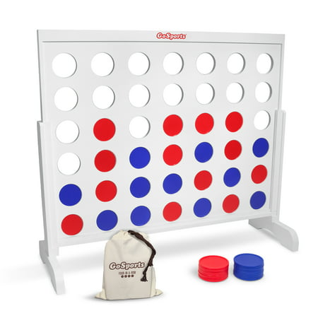 GoSports Giant 4 in a Row Game with Carrying Case - 4 foot Width - Made from Wood