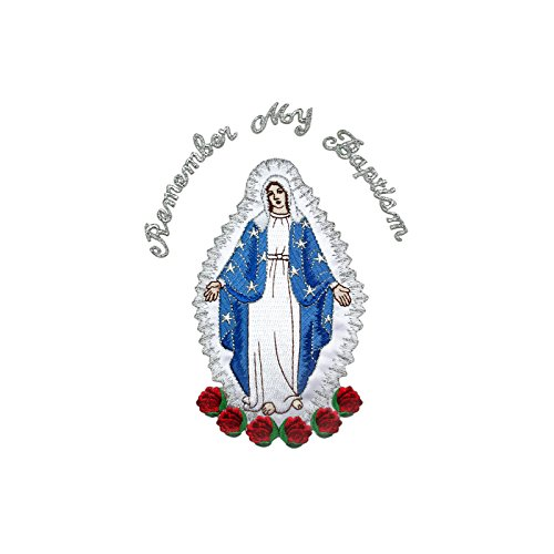 Full Embroidered Virgin Mary Applique Patch Silver Metallic Santa Maria Motif (English)
