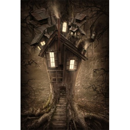 GreenDecor Polyester Fabric 5x7ft Photography Background Fantasy Tree House Light Forest Scene Dark Night Spooky Halloween Background Birthday Party Girls Baby Children Photo Portratis Background (Spooky Halloween Forest Backgrounds)