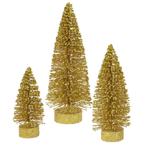 "Vickerman 5""/7""/9"" Gold Glitter Oval Artificial Christmas Tree, Unlit"