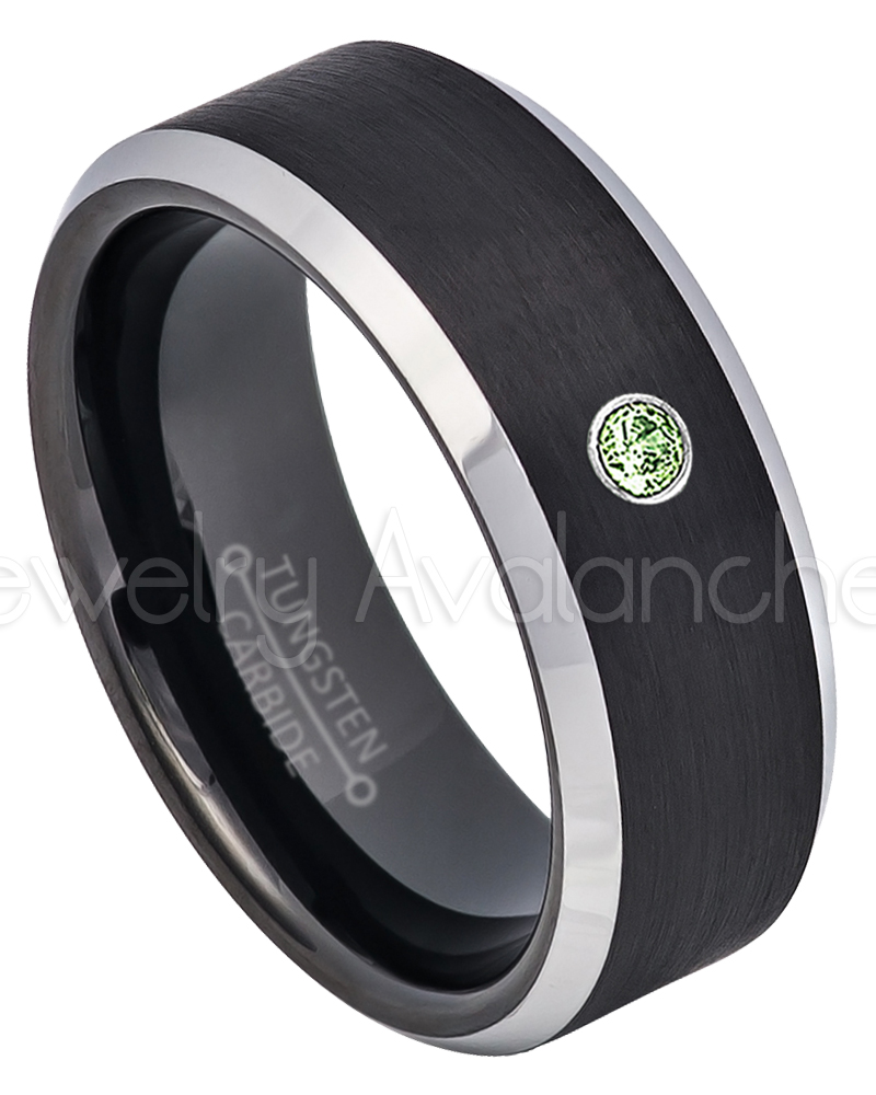 2-Tone Black Tungsten Wedding Band 0.07ct Solitaire Green Tourmaline Ring Personalized Tungsten Wedding Ring Custom Made... by