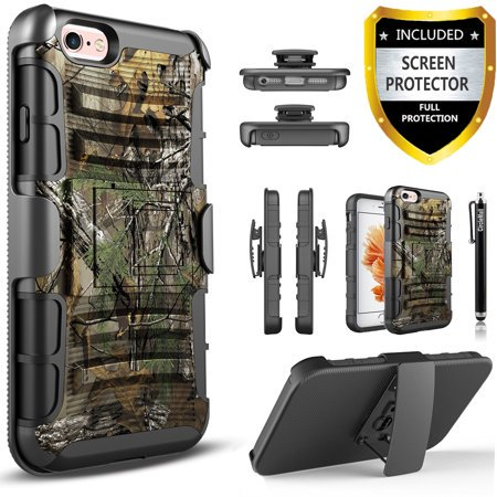 iPhone 5 Case, iPhone 5S Case, iPhone SE Case, Dual Layers [Combo Holster] And Built-In Kickstand Bundled with [Premium Screen Protector] Hybird Shockproof And Circlemalls Stylus Pen