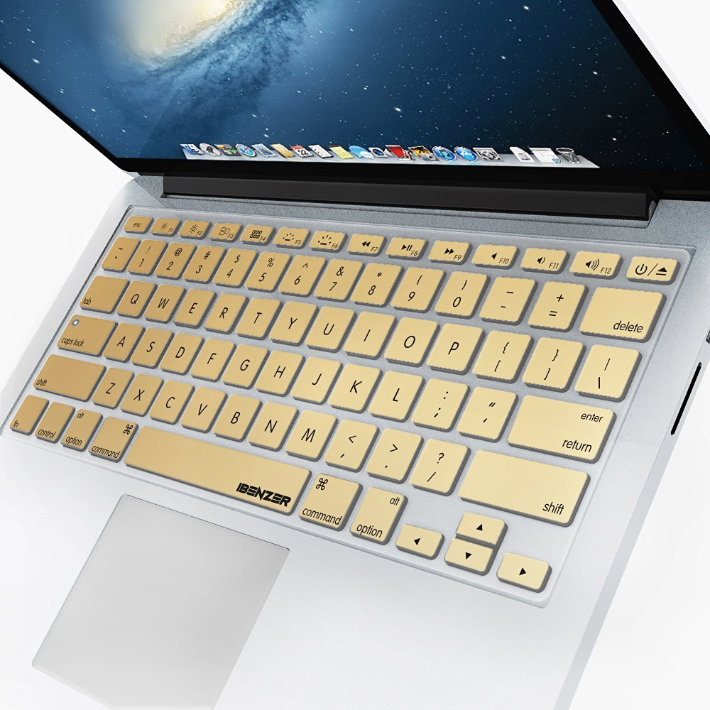 "iBenzer - Macaron Series Keyboard Cover Silicone Rubber Skin for Macbook Pro 13"" 15"" 17"" (with or w/out Retina Display) Macbook Air 13"" and iMac Wireless Keyboard - Gold MKC01GD"