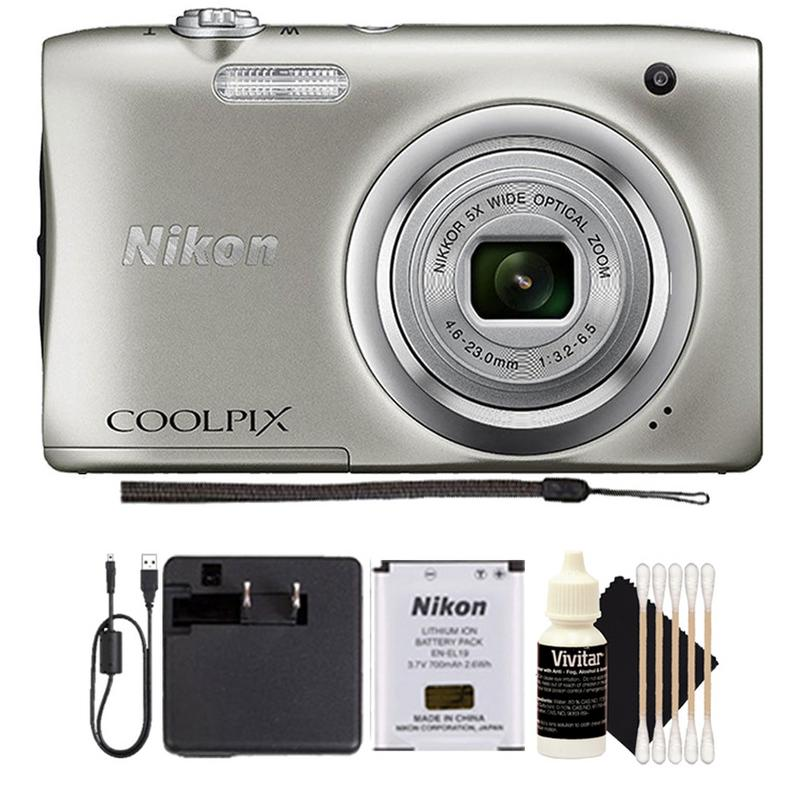 Nikon Coolpix A100 20.1MP 5x Optical Zoom Compact Digital Camera (Silver) Holiday Gift Set
