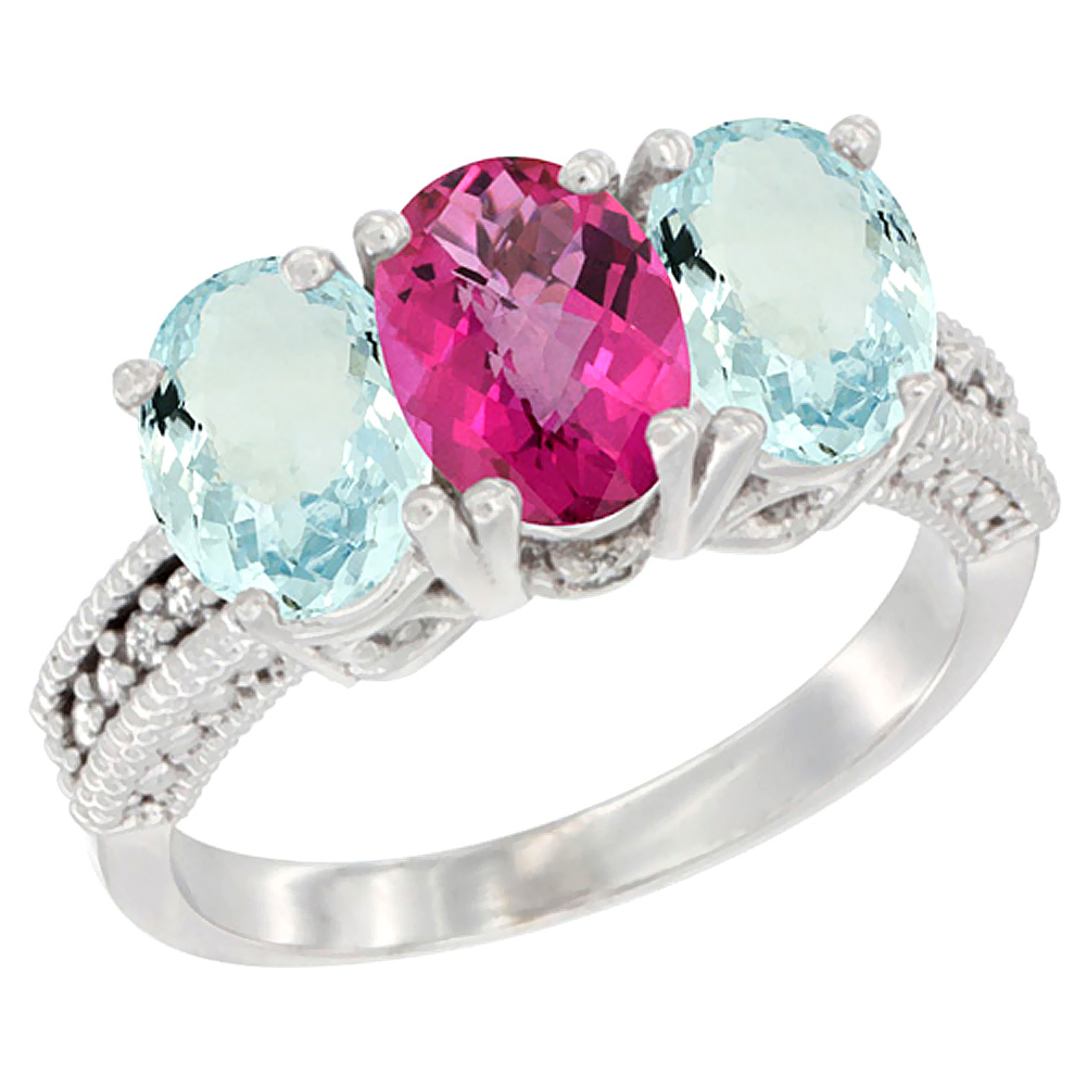 14K White Gold Natural Pink Topaz & Aquamarine Sides Ring 3-Stone Oval 7x5 mm Diamond Accent, sizes 5 10 by WorldJewels