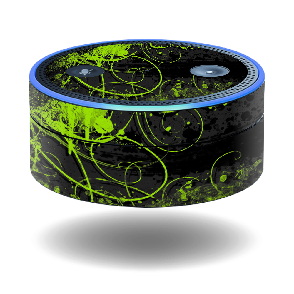 MightySkins Protective Vinyl Skin Decal for Amazon Echo Dot (1st Generation) wrap cover sticker skins Green Distortion