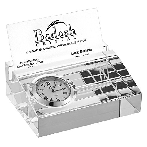 Badash Crystal Business Card Holder with Inlaid Desk Clock
