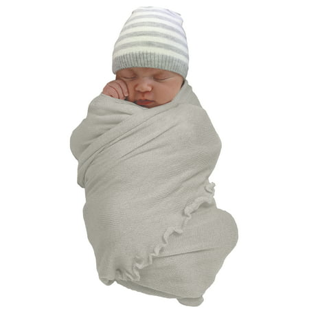 Wonder Nation Baby Boy Swaddle Wrap and Cap Baby Shower Gift Set, 2pc