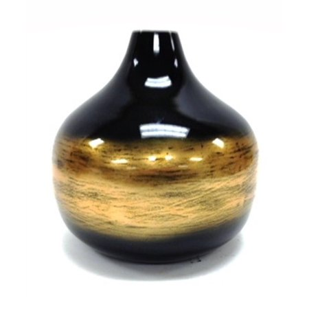 Elements Nine Inch Round Black And Gold Bamboo Vase Walmart