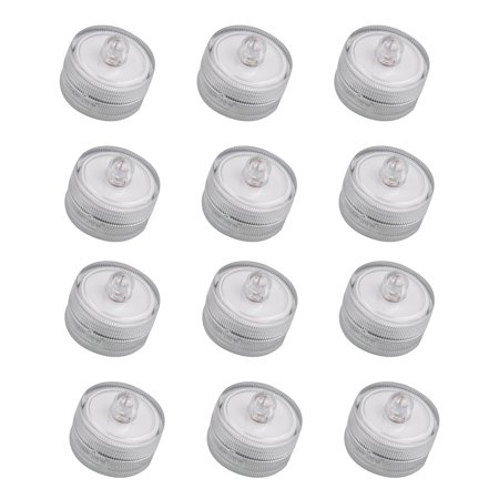 12 Pack Submersible Waterproof Underwater Wedding Battery LED Tea Light Totally safe Lighting for parties, weddings, restaurants with batteries 1.06x1.06x0.98inch