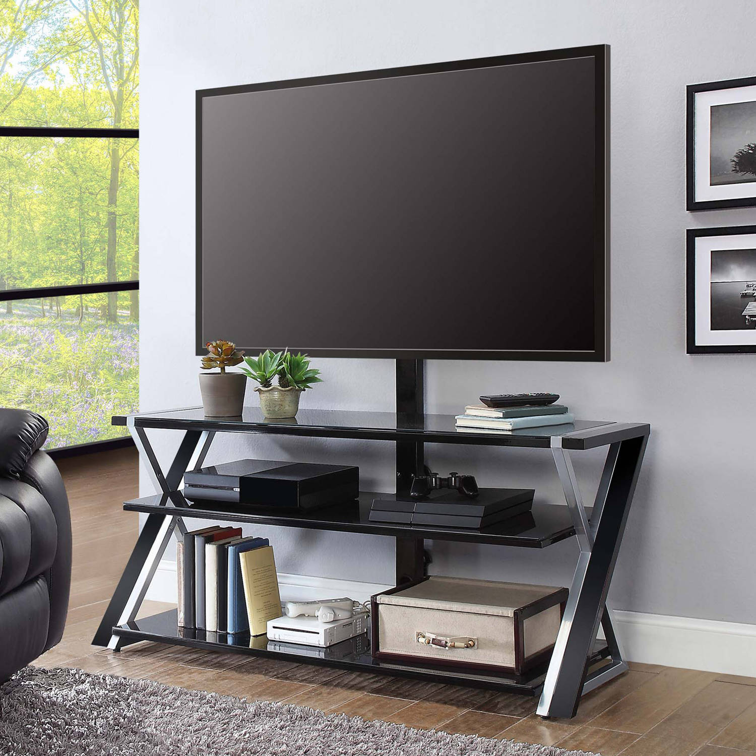 Whalen Xavier 3 In 1 Flat Panel Tv Stand For Tvs Up To 70  # Meuble Tv Design Angle