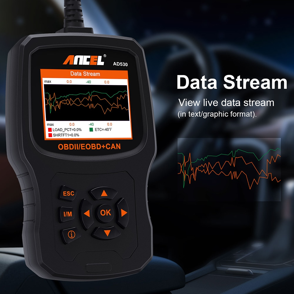 Ancel AD530 OBD2 Scanner Check Engine Light Clear Fault Code Reader  Real-Time Data EVAP System O2 Sensor Monitor with Battery Tester Test OBD 2