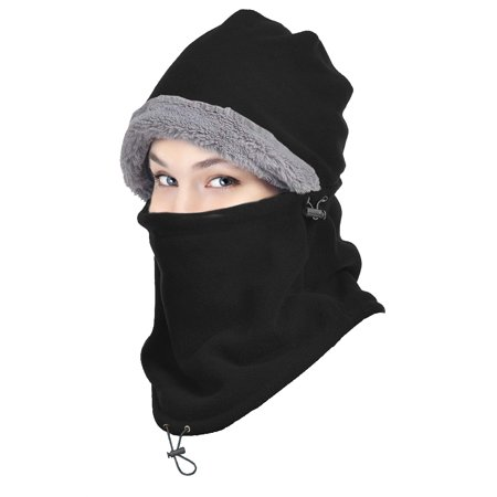 Winter Ski Full Face Mask Cap Neck Cover Hat,iClover Outdoor Unisex Winter Fleece Hats Bicycle Ski Warm Wind Proof Face Mask Hood for Mens Women Black