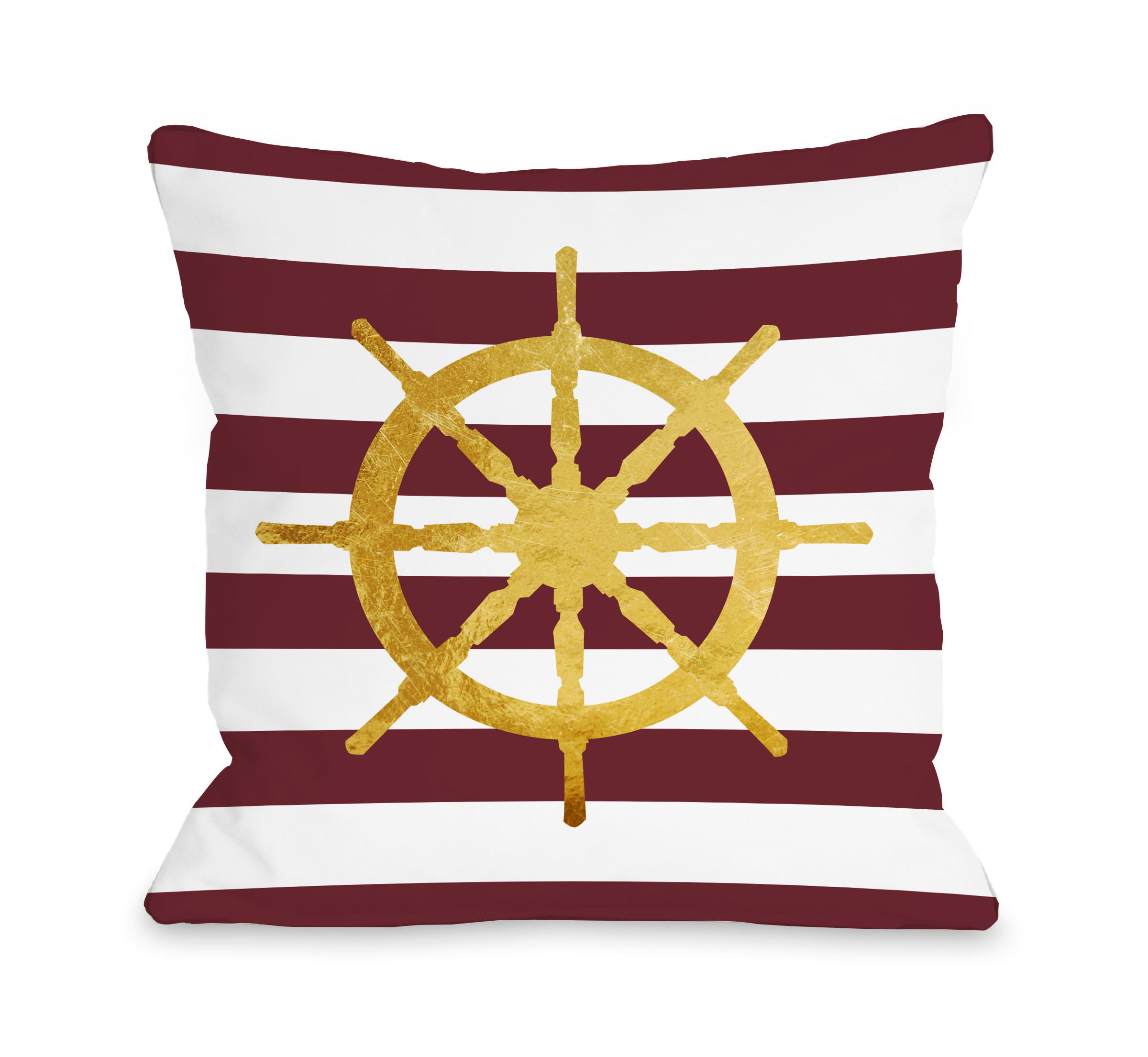 Nautical Stripes Wheel - Red 18x18 Pillow by OBC