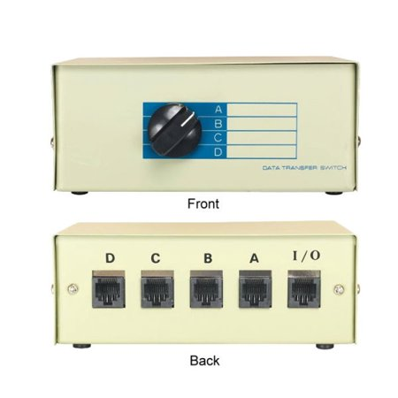Kentek RJ45 4 Way Manual Data Switch Box Network I/O ABCD Female Port Phone Internet CAT5 CAT6 Devices