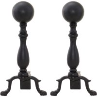 UniFlame Black Wrought Iron Ball Andirons