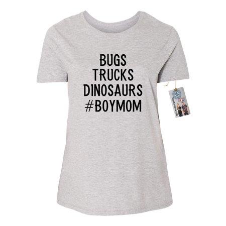 Bugs Trucks Dinosaurs #BoyMom Plus Size Womens Short Sleeve T-Shirt Top (Dinosaurs Size Chart)