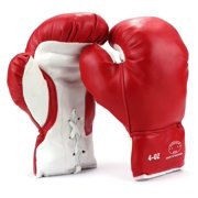 Pair of 4 Oz Children Kids Youth Lace Up Training Boxing Gloves w/ Soft Padding, Durable Construction (Red)