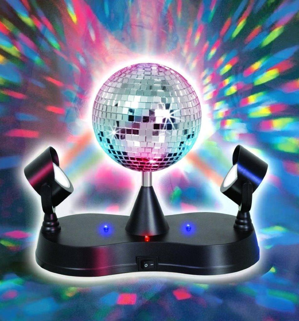 Lightahead Led Peak Due Rotating Mirror Disco Ball With 2 Adjule Light Projector Lamps Com