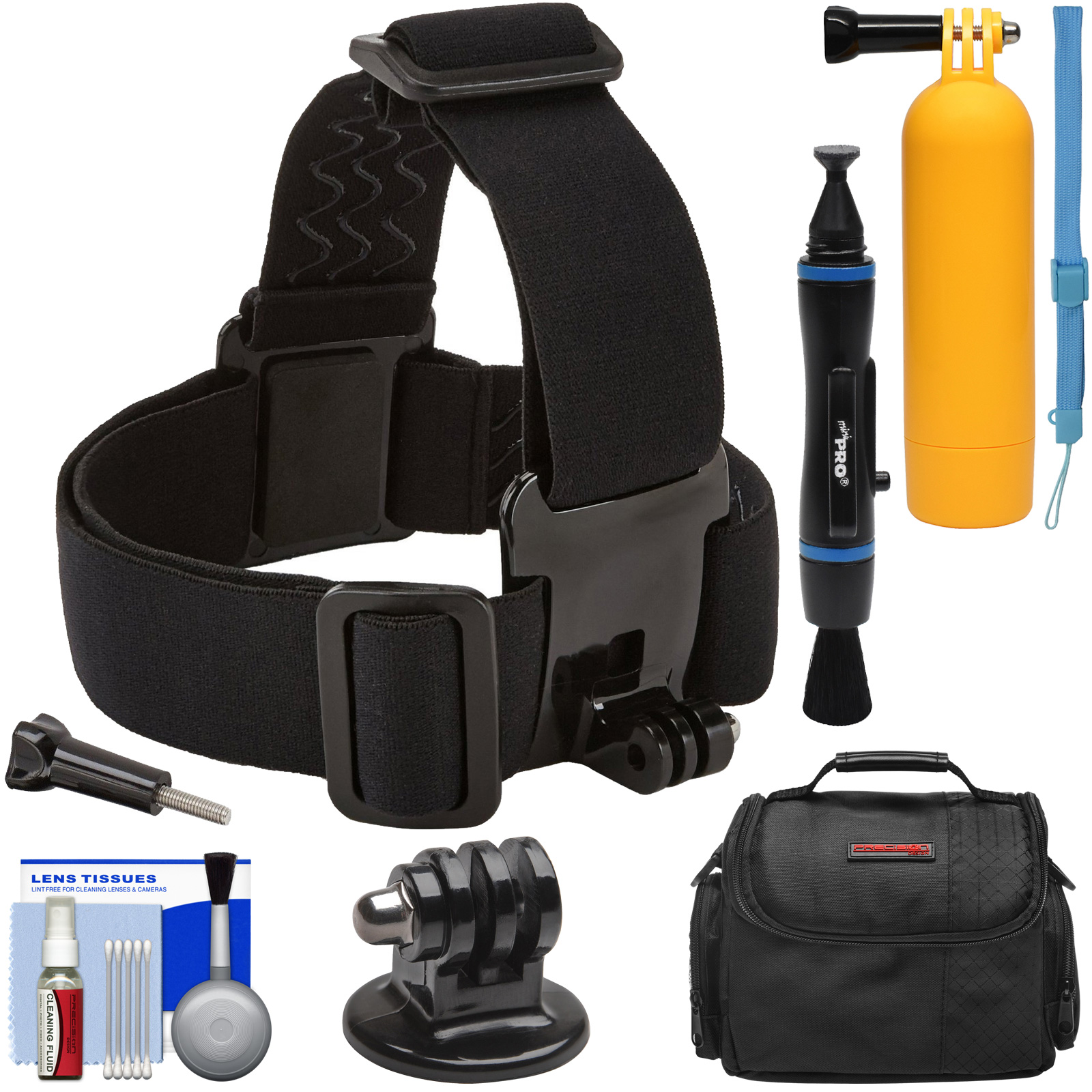 Sunpak Action Camera Head Strap Mount with Buoy Hand Grip + Wrist Strap + Case + Adapter + Lens Pen + Kit