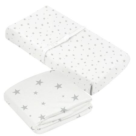 Kushies Neutral Crib Sheet and Contour Change Pad Cover Organic Cotton Jersey Grey/White Bundle - image 1 de 1