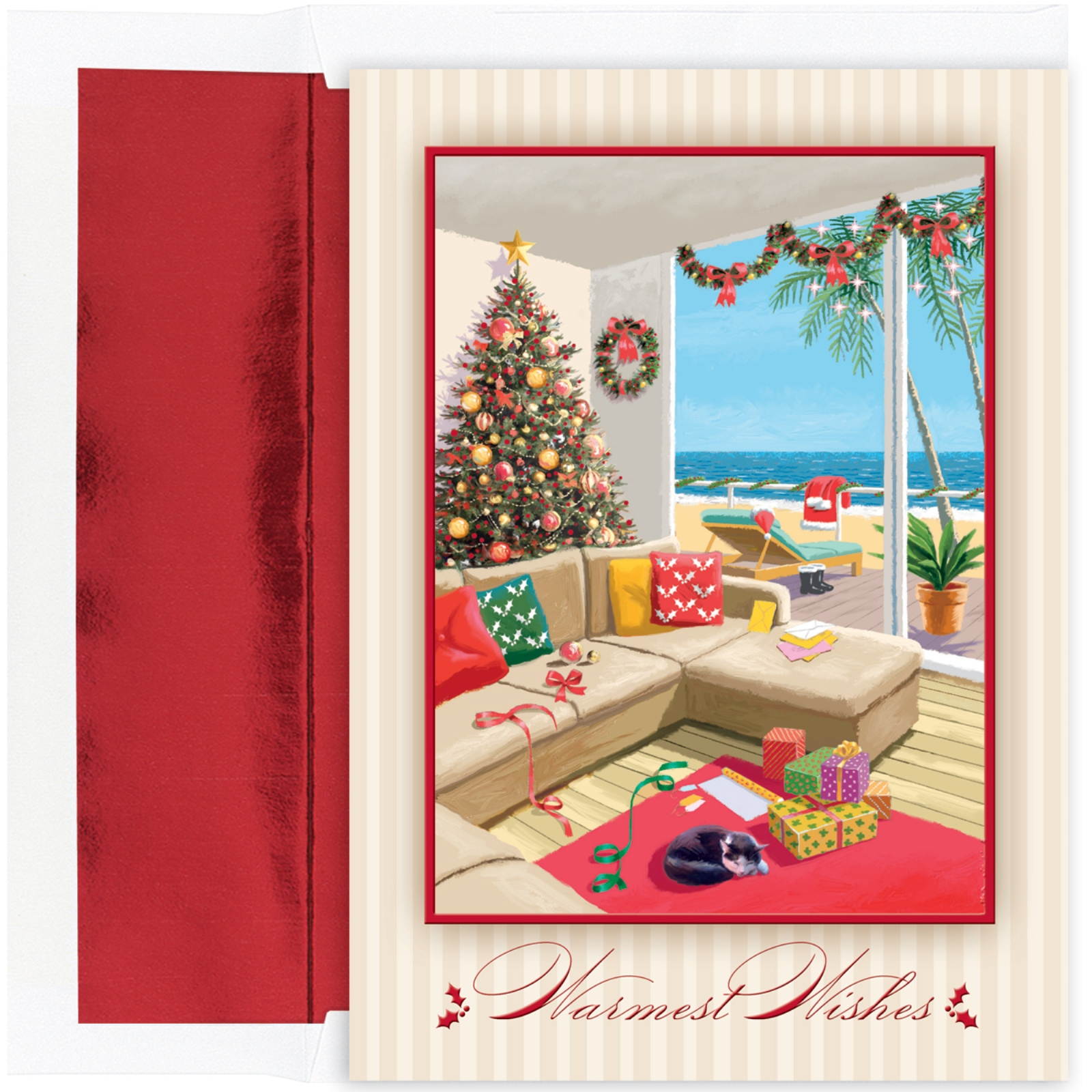 Warmest Wishes Christmas Morning at the Beach 18 Boxed Christmas Cards