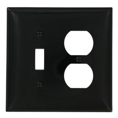 Leviton PJ18-E Black Midway Nylon Two Gang Combination Toggle Switch Duplex Receptacle Wall