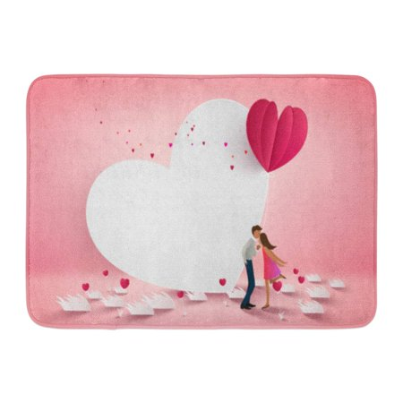 Heart White Flower (GODPOK Kiss of Couple Kissing on White Heart with Flower Pink Floor Love Concept Valentine's Day Valentine Rug Doormat Bath Mat 23.6x15.7 inch)