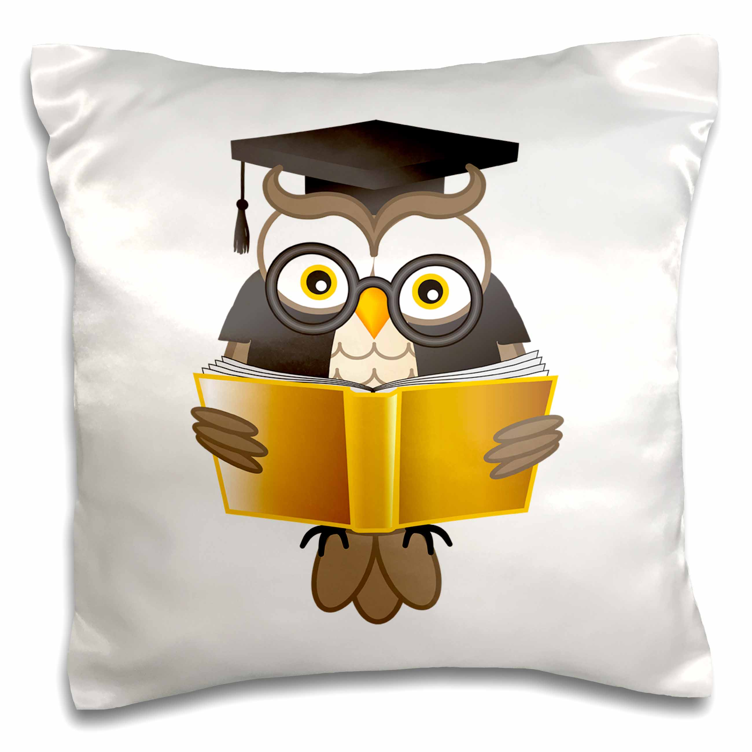 3dRose Wise owl reading a book, Pillow Case, 16 by 16-inch