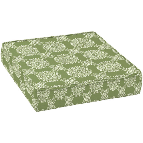 Better Homes and Gardens Outdoor Deep Seat Seat Cushion, Green Tulip Medallion