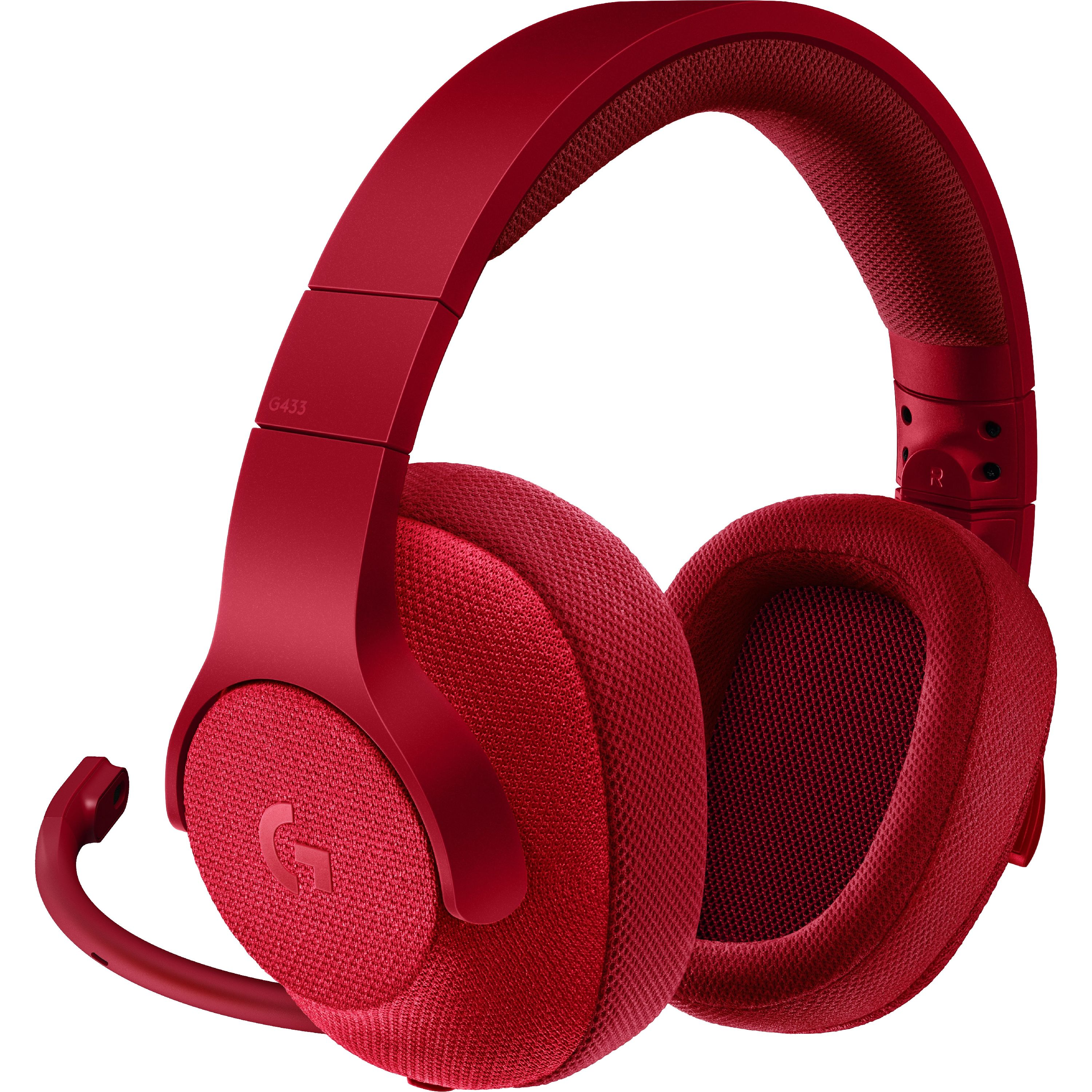 Logitech G433 7.1 WIRED SURROUND GAMING HEADSET Red by Logitech