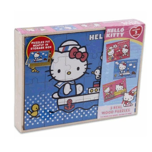 Sanrio 3 PCS Hello Kitty Real Wood Jigsaw Puzzles in Wooden Storage by Sanrio